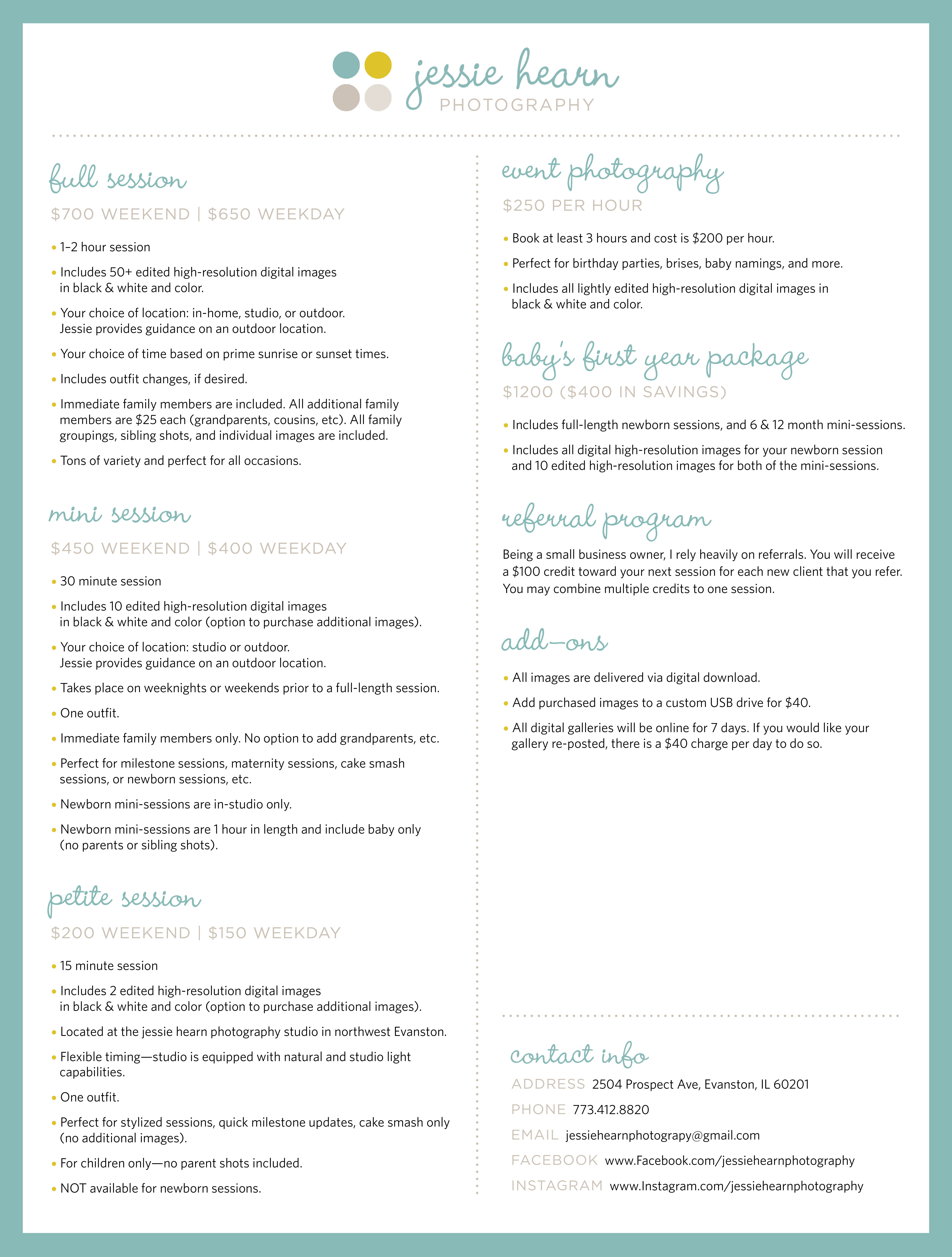pricing sheets jessie hearn photography
